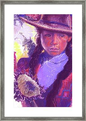 Peruvian Girl With Sunflower Framed Print