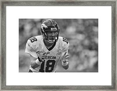 Peyton Manning Calls Out The Play Framed Print by Mountain Dreams