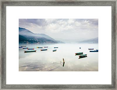 Phewa Lake In Pokhara, Nepal Framed Print