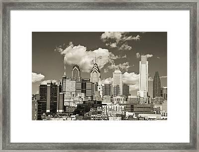 Philadelphia Cityscape In Sepia Framed Print