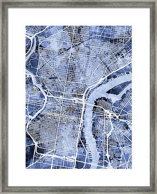 Philadelphia Pennsylvania City Street Map Framed Print by Michael Tompsett