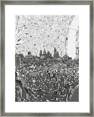Philadelphia Skyline Map 4 Framed Print
