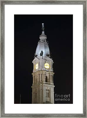 Philadephia City Hall At Night Framed Print