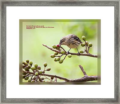 Framed Print featuring the photograph Philippians 4 19 by Dawn Currie
