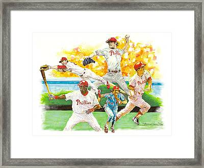 Phillies Through The Ages Framed Print by Brian Child