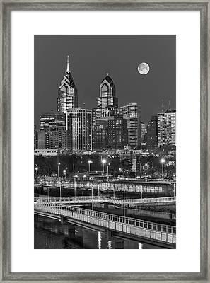 Philly Skyline Full Moon Framed Print