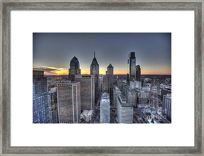 Philly Skyline Sunset From The Clouds Framed Print by Mark Ayzenberg