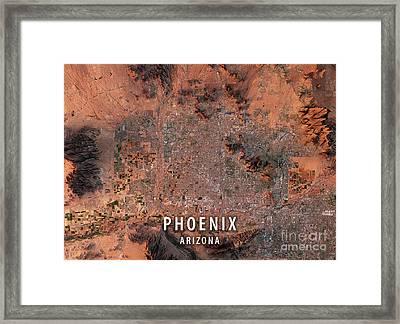 Phoenix 3d Render Satellite View Topographic Map Framed Print by Frank Ramspott