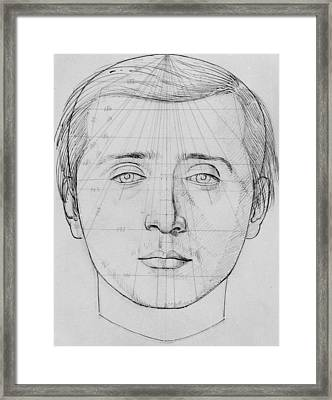 Phrenological Study Framed Print by French School