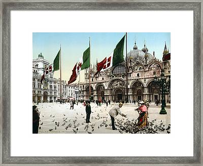 Piazza San Marco, 1890s Framed Print by Science Source