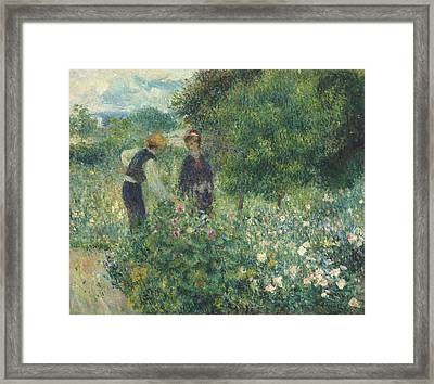 Picking Flowers Framed Print by Pierre Auguste Renoir