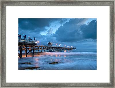 Pier In Blue Framed Print by Gary Zuercher