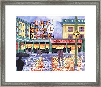 Pike Place Lights Framed Print