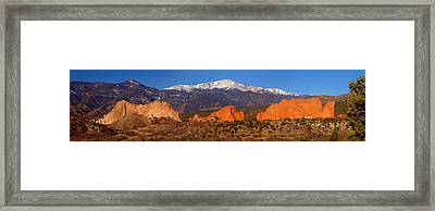 Pike's Peak And Garden Of The Gods Framed Print by Jon Holiday