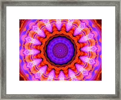 Pink 16-petals Kaleidoscope Framed Print