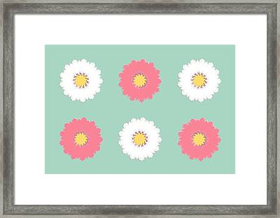 Framed Print featuring the digital art Pink And White by Elizabeth Lock
