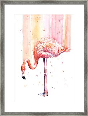 Pink Flamingo Watercolor Rain Framed Print