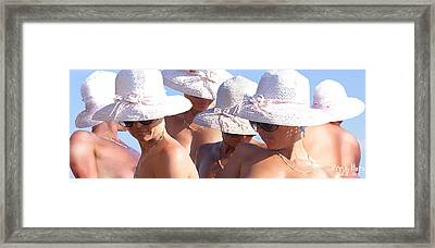 Pink Hats Framed Print by Leo Malboeuf