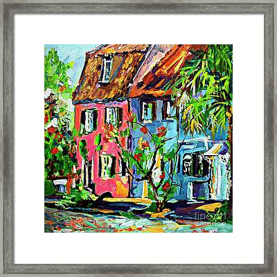 Framed Print featuring the painting Pink House On Chalmers Street Charleston South Carolina by Ginette Callaway
