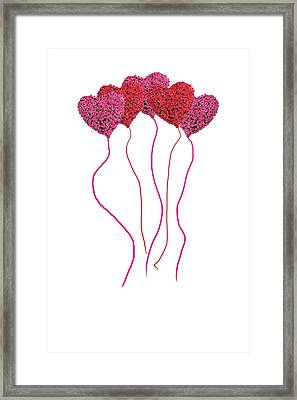 Pink Roses In Heart Shape Balloons  Framed Print