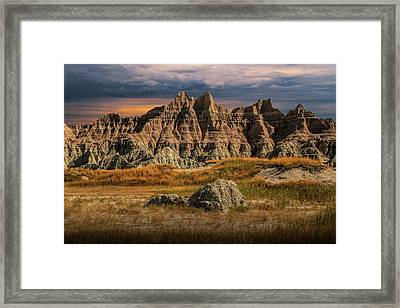Pinnacles And Spires In The Badlands Framed Print by Randall Nyhof