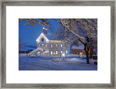 Pioneer Church At Christmas Time Framed Print by Utah Images