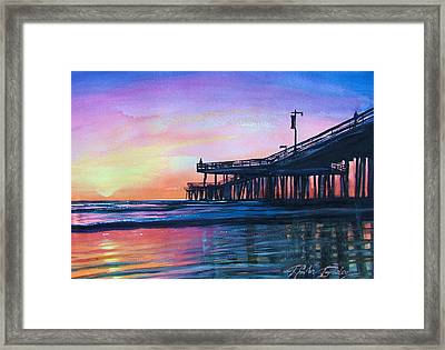 Pismo Pier Sunset Framed Print by Therese Fowler-Bailey
