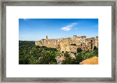 Pitigliano In Umbria With Surrounding Walls Framed Print by Frank Bach