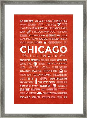 Framed Print featuring the digital art Places Of Chicago On Orange Chalkboard by Christopher Arndt