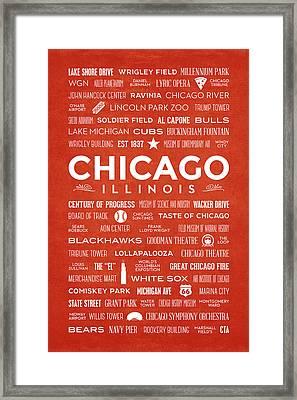 Places Of Chicago On Orange Chalkboard Framed Print
