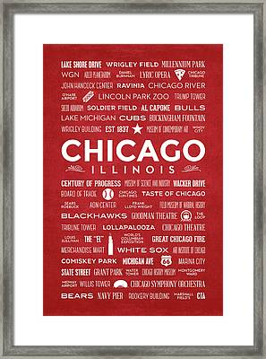 Framed Print featuring the digital art Places Of Chicago On Red Chalkboard by Christopher Arndt