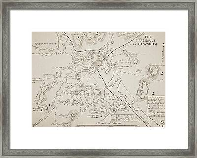 Plan Of The Assault On Ladysmith Framed Print