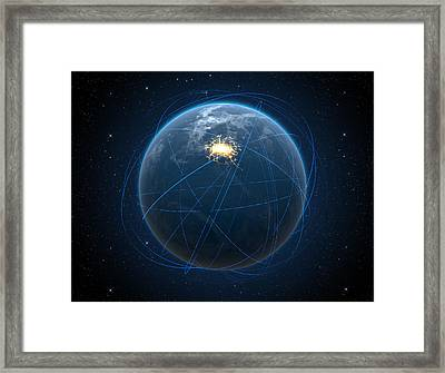 Planet With Illuminated City And Light Trails Framed Print by Allan Swart