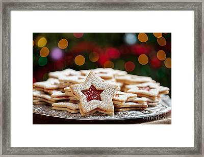 Plate Of Christmas Cookies Under Lights Framed Print by Leslie Banks