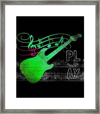 Framed Print featuring the digital art Play 3 by Guitar Wacky