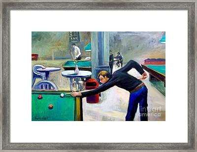 Playing Billiard Framed Print by George Siaba