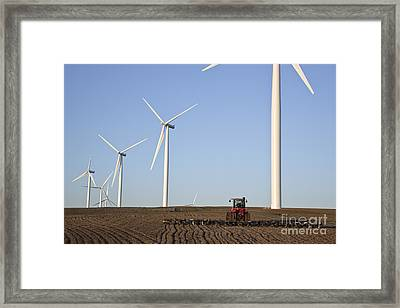 Plowing Field On Wind Farm Framed Print by Inga Spence