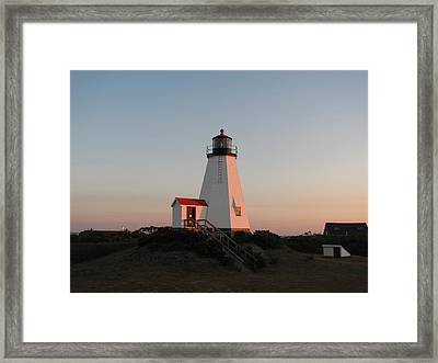 Plymouth Lighthouse At Sunrise Framed Print
