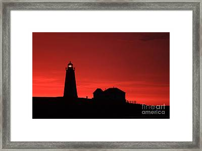Point Judith Lighthouse First Light Framed Print