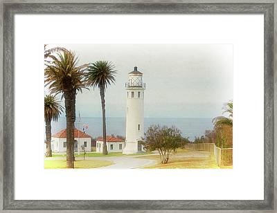 Point Vincente Lighthouse, California In Retro Style Framed Print