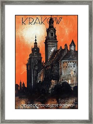 Poland Krakow Vintage Travel Poster Restored Framed Print by Carsten Reisinger