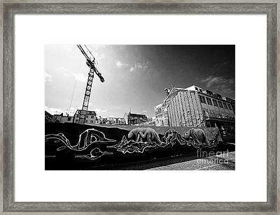 polar bear mural on protective hoardings surround a building site in downtown reykjavik Iceland Framed Print by Joe Fox