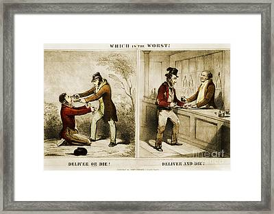 Political Cartoon Advocating Temperance Framed Print by Photo Researchers
