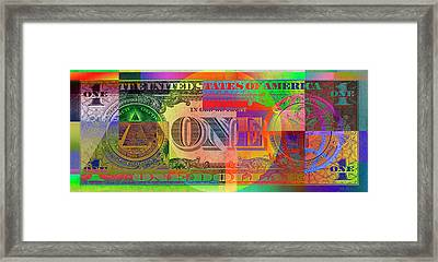 Pop-art Colorized One U. S. Dollar Bill Reverse Framed Print by Serge Averbukh