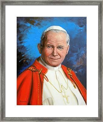Pope John Paul II Framed Print by Richard Barone