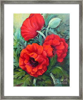 Framed Print featuring the painting Poppy Family 1 by Marta Styk
