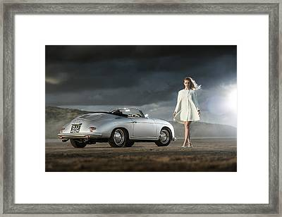 Porsche 356 Speedster With Model Framed Print