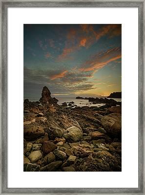 Porth Saint Beach At Dusk. Framed Print