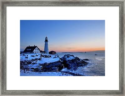 Portland Head Lighthouse Sunrise - Maine Framed Print by Joann Vitali