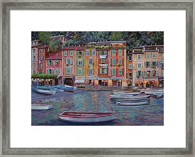 Portofino Al Crepuscolo Framed Print by Guido Borelli